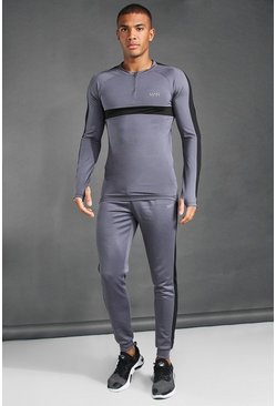Charcoal grey MAN Active 1/4 Zip Muscle Fit Tracksuit