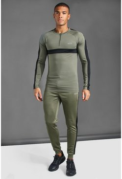 Khaki MAN Active 1/4 Zip Muscle Fit Tracksuit