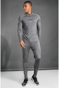 Charcoal grey MAN Active 1/4 Zip Funnel Neck Tracksuit