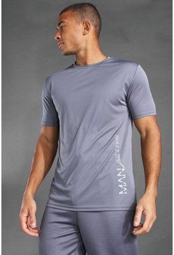 MAN Active T-Shirt mit Print-Detail, Anthrazit grau
