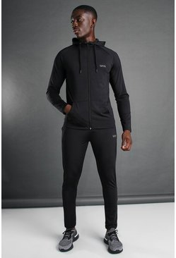 Man Active Hooded Zip Through Tracksuit, Black nero