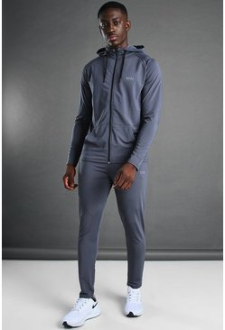 Man Active Hooded Zip Through Tracksuit, Charcoal grigio
