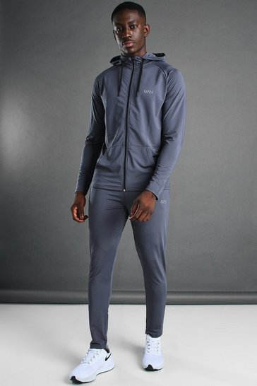 Charcoal grey Man Active Hooded Zip Through Tracksuit