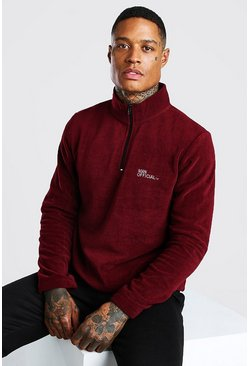 Burgundy red MAN Official Polar Fleece Half Zip Funnel Top