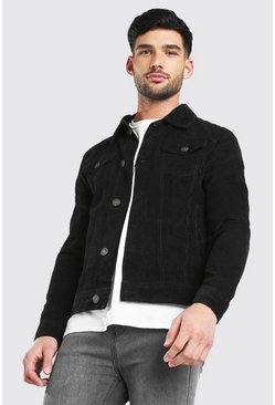 Regular Fit Cord Jacket, Black negro