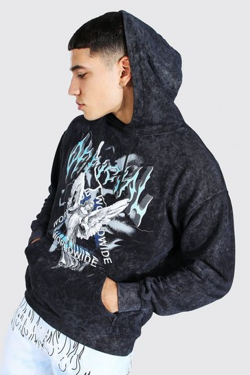Charcoal grey Oversized Renaissance Print Acid Wash Hoodie