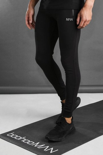 Black MAN Active Skinny Fit Jogger With Zip Pockets