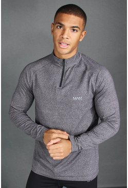 Charcoal grey MAN Active Funnel Neck Top