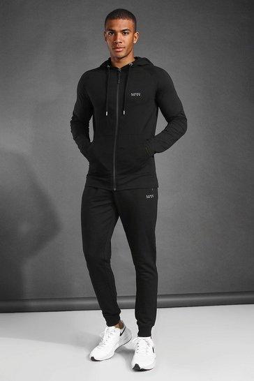 Black MAN Active Skinny Fit Hooded Tracksuit