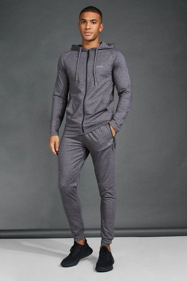 Charcoal grey MAN Active Skinny Fit Hooded Tracksuit