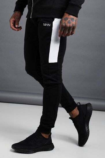 Black MAN Active Skinny Jogger With Side Panels