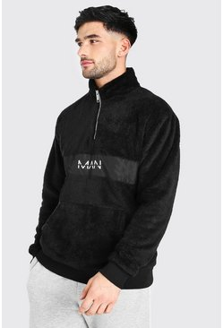 Black Original Man 1/2 Zip Borg Top