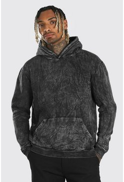 Washed black Heavyweight Over The Head Acid Wash Hoodie