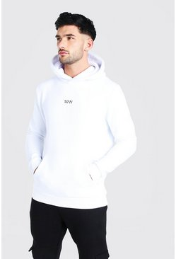 Original MAN Heavyweight Over The Head Hoodie, White blanco