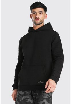 MAN Signature Heavyweight Over The Head Hoodie, Black negro