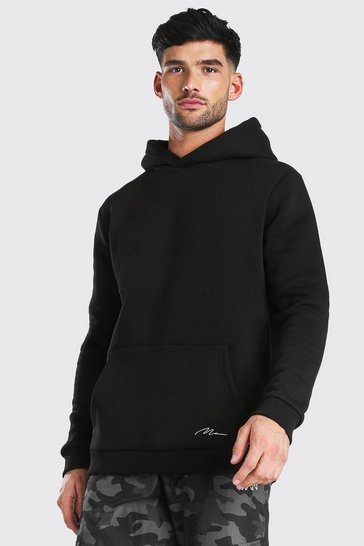 Black MAN Signature Heavyweight Over The Head Hoodie