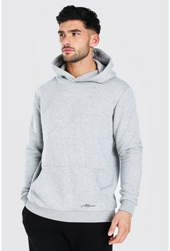 MAN Signature Heavyweight Over The Head Hoodie, Grey marl gris