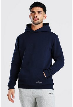 MAN Signature Heavyweight Over The Head Hoodie, Navy azul marino