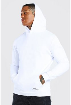 White MAN Signature Heavyweight Over The Head Hoodie