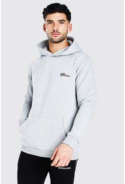 Grey marl MAN Official Heavyweight Over The Head Hoodie