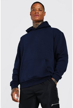 Oversized Heavyweight Over The Head Hoodie, Navy azul marino