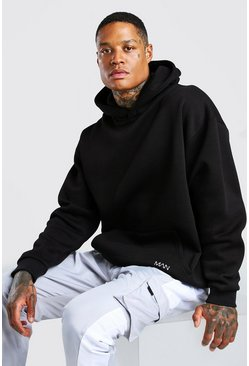 Oversized Original MAN Heavyweight Hoodie, Black negro