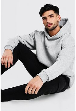Grey marl grey Oversized MAN Signature Heavyweight Hoodie