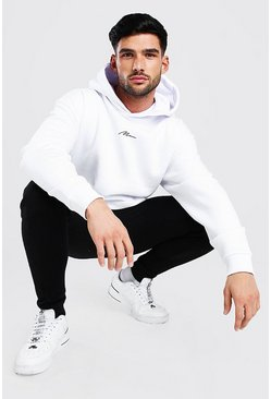 White Oversized MAN Signature Heavyweight Hoodie