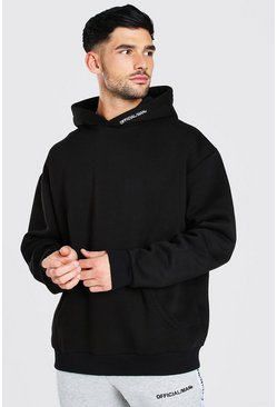 Oversized MAN Official Heavyweight Hoodie, Black negro