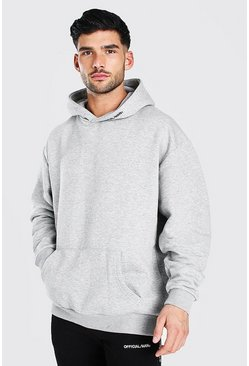 Grey marl grey Oversized MAN Official Heavyweight Hoodie