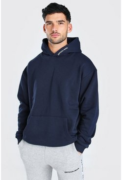 Navy Oversized MAN Official Heavyweight Hoodie