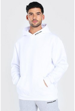 Oversized MAN Official Heavyweight Hoodie, White blanco