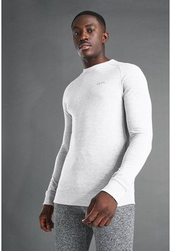 Grey marl grey MAN Active Muscle Fit Raglan Sweater