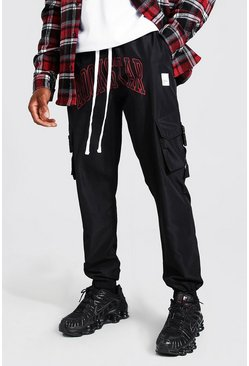 Black Shell Rockstar Print Cargo Pants With Strap