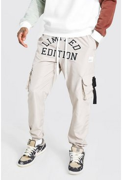 Stone beige Shell Limited Print Cargo Trouser With Strap