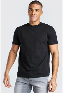Black Crew Neck T-Shirt With Extended Neck