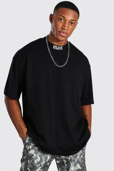 Black Oversized MAN Extended Neck Print T-Shirt