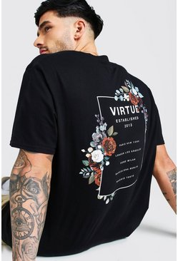 Black Oversized Floral Back Print T-Shirt