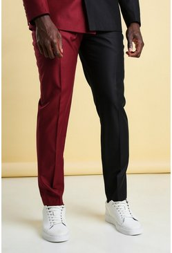 Wine red MAN Skinny Plain Spliced Suit Trouser