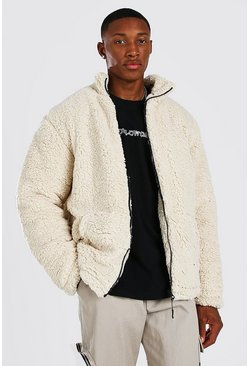 Cream white Zip Through Borg Jacket