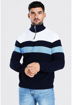 Navy Half Zip Colour Block Chunky Ribbed Jumper
