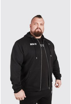 Black MAN Active X Beast Zip Through Print Hoodie