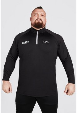 Zwart black Man Active X Beast Muscle Fit Shirt Met Hoge Hals En Rits