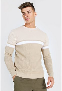 Taupe beige Colourblock Muscle Fit Crew Neck Sweater