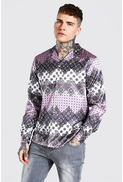 Mauve purple Long Sleeve Revere Collar Floral Satin Shirt