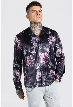 Black Long Sleeve Revere Collar Floral Satin Shirt