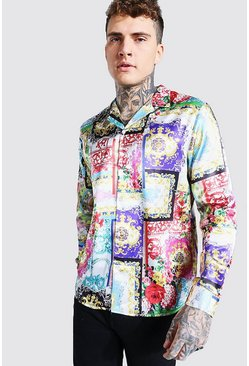 Multi Long Sleeve Revere Collar Baroque Print Satin Shirt