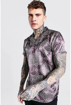 Brown Short Sleeve Regular Fit Revere Bandana Satin Shirt