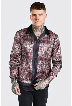 Brown Long Sleeve Revere Collar Border Print Satin Shirt