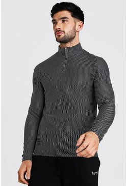 Black Jacquard Knitted Muscle Fit Half Zip Jumper